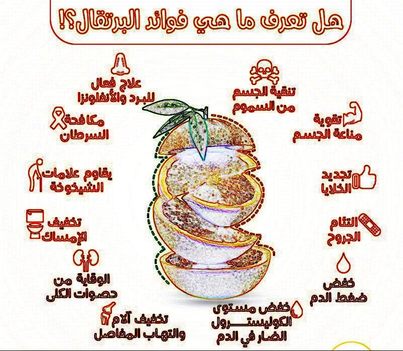 انفوجرافيك فوائد البرتقال للجهاز المناعي