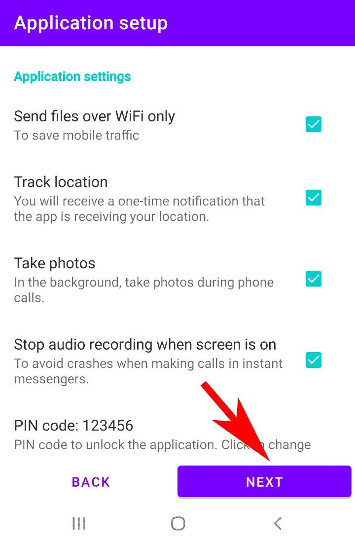ضبط باقي الاختيارات في برنامج تسجيل المكالمات بدون علم المستخدم